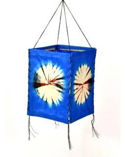 Tienidlo, modré, štvorboké, batika kruh, farbený ryžový papier, 18x26cm