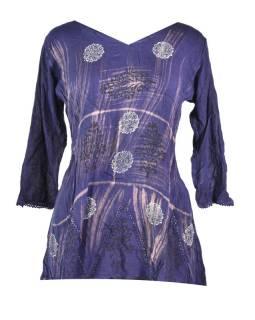 Letné blúza s rukávom, výšivka, batika, fialová
