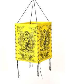 Tienidlo, štvorboké žlté sa zlato-čiernou potlačou Budhu, 18x25cm