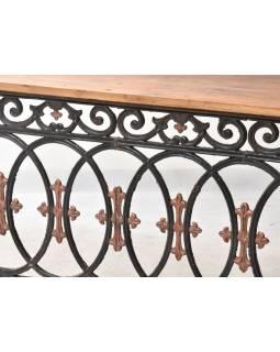 Konzolový stolík z liatiny a teakového dreva, 175x45x83cm