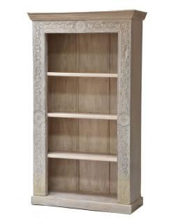 Knižnica z teakového a mangového dreva ručne vyrezávaná, 110x43x187cm