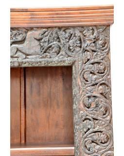 Knižnica z teakového a mangového dreva ručne vyrezávaná, 114x44x182cm