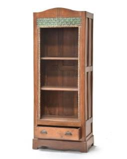 Knižnica z teakového dreva ručne vyrezávaná, 69x44x180cm