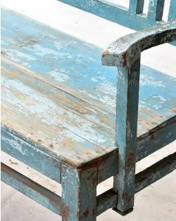 Stará lavička z teakového dreva zdobená keramickými dlaždicami, 166x45x92cm
