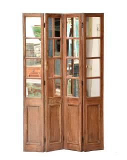 Paravan so zrkadlami z teakového dreva, 120x4x185cm
