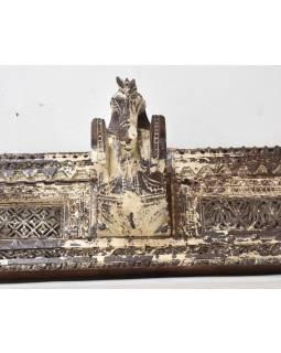 Starý drevený portál, konské hlavy, ručne vyrezávaný, 152x23x21cm