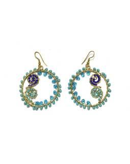 Kruhové visiace náušnice s tyrkysovými a modrými korálky, zlatý kov