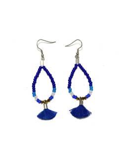 Visiace náušnice s modrými korálkami a třásničkou, tvar kvapky, strieborný kov