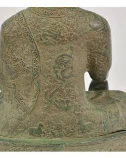Budha Šákjamúni, antik zelená patina, mosadz, 35x23x53cm
