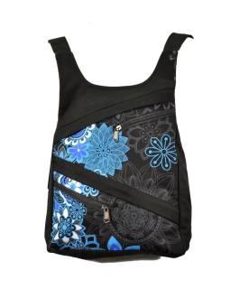 Originálny batoh s piatimi vreckami, čierny s modrou potlačou, ručné práce, 32x36cm