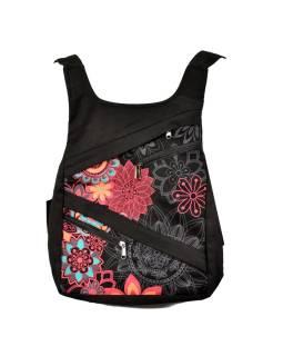 Originálny batoh s piatimi vreckami, čierny s ružovým potlačou, ručné práce, 32x36cm