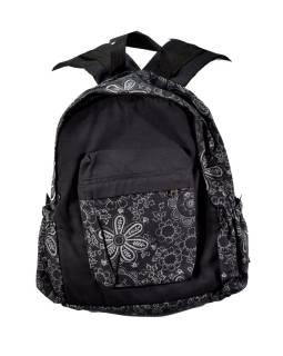 Batoh, čierny, potlač kvetín, bavlna, 34x39cm