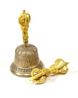 Tibetský zvon a Dorji, mosadzná farba, ornament, 16cm