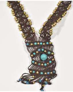 Hnedý pletený náhrdelník s tyrkysovými a zlatými korálky