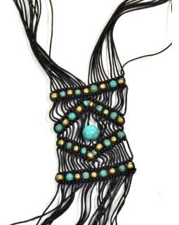Čierny pletený náhrdelník s tyrkysovými a zlatými korálky