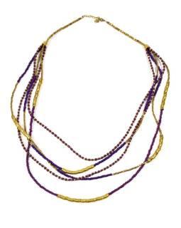 Dlhý náhrdelník, 5-radový, fialovej, fuchsiovej a zlaté korálky, zapínanie