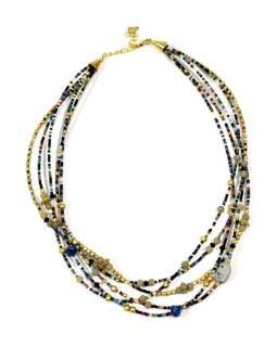 Náhrdelník, 5-radový, čierne, farebné a zlaté korálky, zapínanie