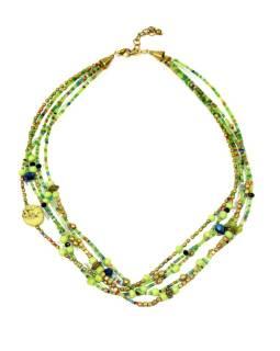 Náhrdelník, 5-radový, zelené, farebné a zlaté korálky, zapínanie