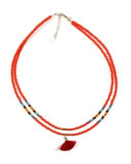 Náhrdelník, 2-radový, červené a farebné korálky, strapec, zapínanie
