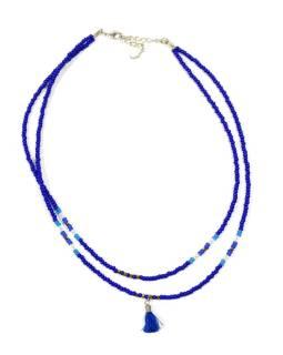 Náhrdelník, 2-radový, modrej a bielej korálky, strapec, zapínanie