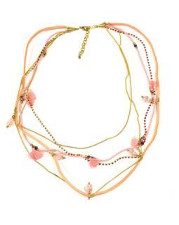 Náhrdelník, 5-radový, marhuľovej korálky, zlaté retiazky a strapce, zapínanie