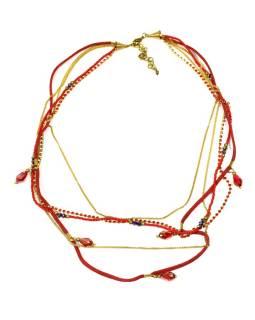 Náhrdelník, 5-radový, červené koráliky, zlaté retiazky a strapce, zapínanie