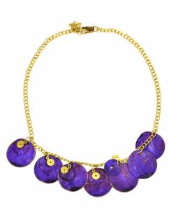 Náhrdelník s fialovými kolieskami a zlatými špirálkami, zlatý kov