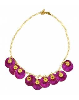 Náhrdelník s ružovými kolieskami a zlatými špirálkami, zlatý kov