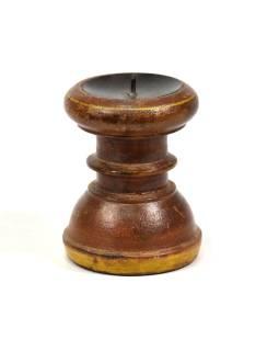 Svietnik zo starého teakového dreva, 9x9x13cm