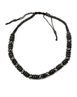 Kostený náhrdelník, čierny, na sťahovacej šnúrke