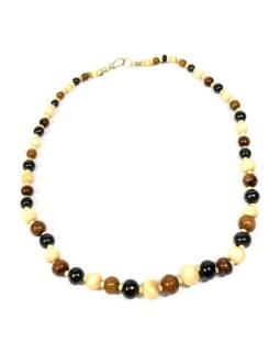 Kostený náhrdelník, béžovej, hnedej a čierne guličky, zapínanie