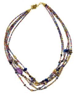 Náhrdelník, 5-radový, fialovej, farebné a zlaté korálky, zapínanie