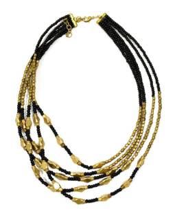 Náhrdelník, 5-radový, čiernej a zlatej korálky, zapínanie