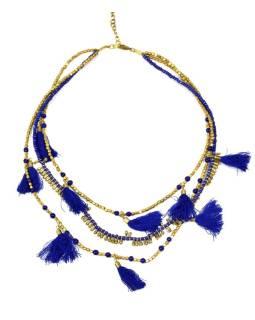Náhrdelník, 3-radový, modrej a zlatej korálky, strapce, zapínanie