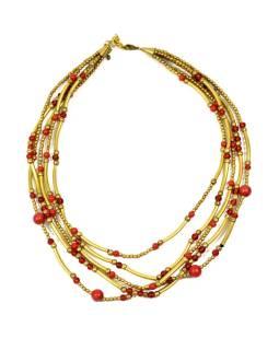Náhrdelník, 5-radový, červenej a zlatej korálky, zapínanie
