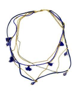 Náhrdelník, 5-radový, modré korálky, zlaté retiazky a strapce, zapínanie