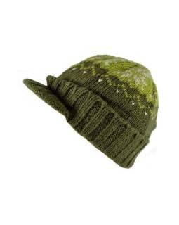 Čiapky, visor cap, šilt, vlna, podšívka, vzor vločka, zelená