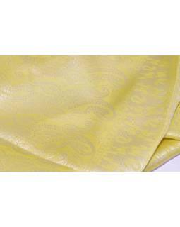 Šatka, brokát - viskóza, žltý, paisley dizajn, 50x175cm