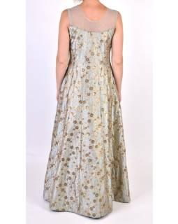 """Luxusné indické šaty """"Anarkali"""", modro strieborné, zlaté fltre, šál"""