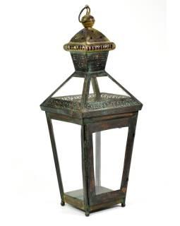 Kovová lucerna, čierno zelená patina, 26x26x73cm