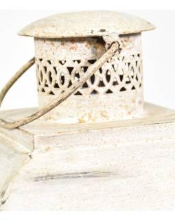 Kovová lucerna, biela patina, 29x29x66cm