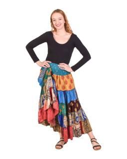 Dlhá vínová patchworková sukňa, kombinácia potlačí, pružný pás