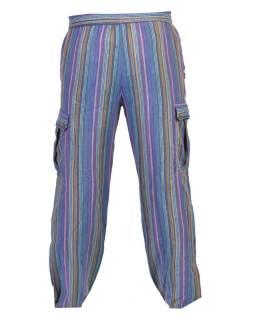 Modré pruhované unisex nohavice s vreckami, elastický pás