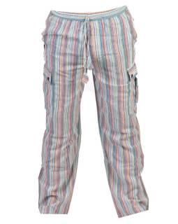 Svetlo modré pruhované unisex nohavice s vreckami, elastický pás