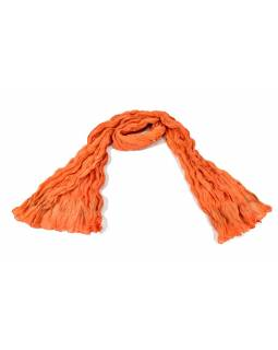 Šatka, oranžový, mačkaná úprava, zlatá tlač, 110x170cm