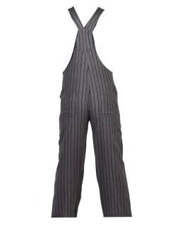 Nohavice s trakmi, čierne, šedivý prúžok, päť vreciek