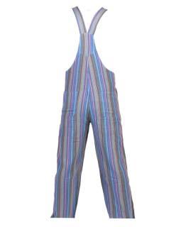 Nohavice s trakmi, modré, farebné prúžky, päť vreciek