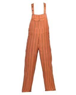 Nohavice s trakmi, oranžové, žltý prúžok, päť vreciek