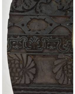 Zrkadlo v ráme z teakového dreva zdobené starými raznicami, 58x4x58cm