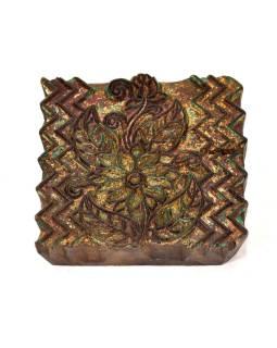 Antik drevená raznice na tlač prehozov s motívom floral, block print, 14x13cm